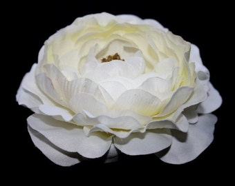Silk Flower Ranunculus - Dry Look Ruffle Ranunculus in White - 4 inches - artificial flower - ITEM 0242