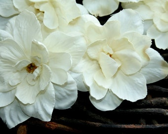 5 Delphinium Blossoms in Accented Cream - 3 Inch Size - Artificial Flowers - ITEM 0245