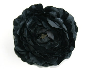 Ruffle Ranunculus in Black - 4 Inches  ... silk flower, artificial flower, millinery craft - ITEM 0591