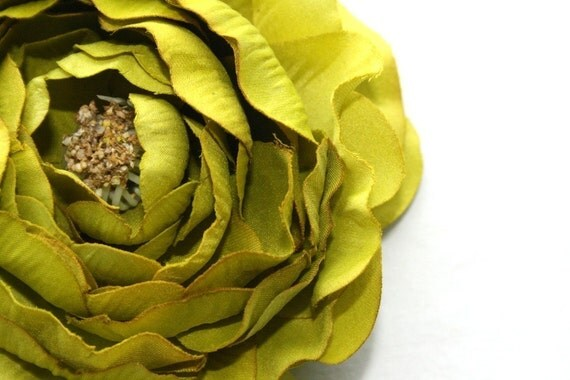 Dry Look Ruffle Ranunculus in Lime Green -4 inches - Artificial Flowers - ITEM 0662