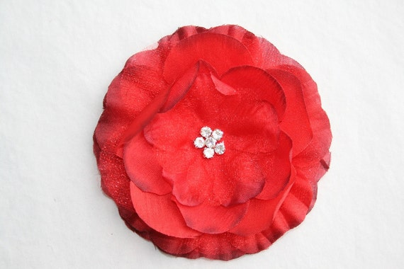 Rhinestone Centered Fabric and Organza Flower in Red