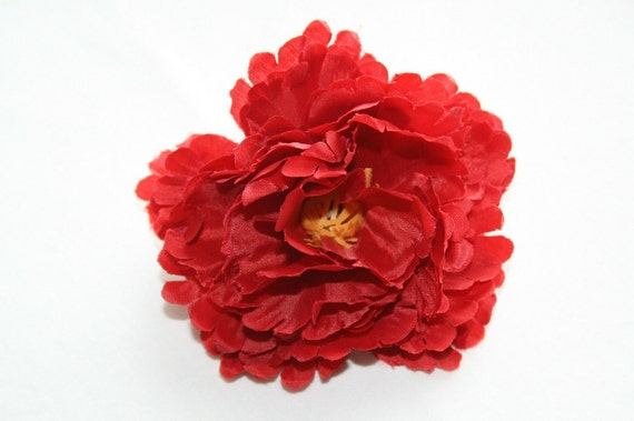 Scalloped Peony in Red - 4 inches