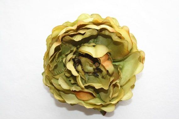 OVERSTOCK SALE: Olive Green Flower - Real Touch Peony in Olive Green - artificial flower. was 4.75