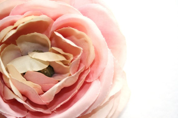Real Touch Silk Flower - Light Pink Tones Garden Rose - 4 inches - Artificial Flower