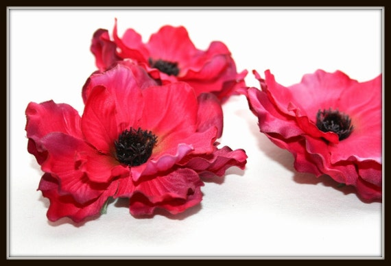 Silk Flowers -  Triple Layer Frilled Anemone in Stunning Hot pink - 4 inches - 10.2 cm