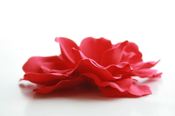 Silk Flowers - Embellished Peony Rose in Red - Flat Back - 4.5 inch size