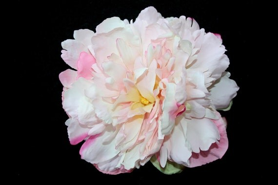 Silk Flowers - Silk Peony in White and Light Pink - 5.5 inches - Artificial Flowers
