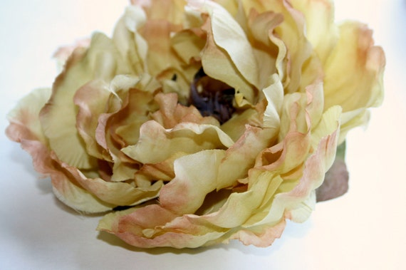 Silk Flowers- Silk Peony in Khaki Yellow Tones... 5 inches  - Artificial Flowers - Millinery Flower