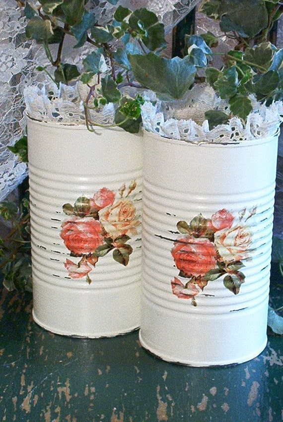 2 extra tall upcycled shabby chic white tin cans roses tin repurposed spring cottage vintage lace trim gold glitter