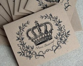 Recycled Kraft Paper Note Card Set - Crowned Merci Beaucoup (6)