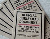 10 Adhesive Official Christmas Document Tags on Recycled Kraft Paper