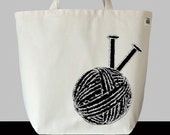 Tote Recycled Cotton Canvas Market Shopping Bag - Knitting Yarn and Needles in Black