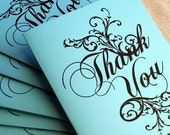 6 Note Cards Set - Recycled Paper - Ornate Thank You on Turquoise