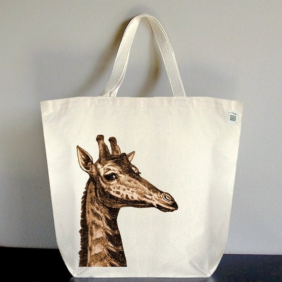 Tote Bag Large made of Recycled Cotton Canvas - Giraffe Peak A Boo