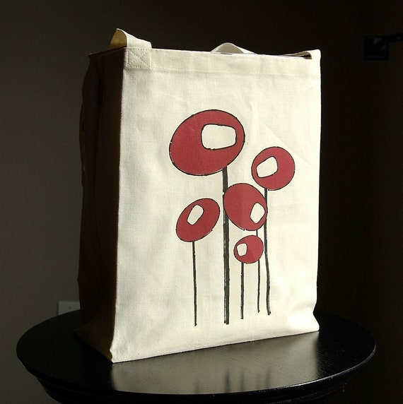 Deep Red Poppies Hemp Box Tote