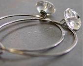 Artisan handmade sterling silver hoop earrings with rock crystal  - Lucid