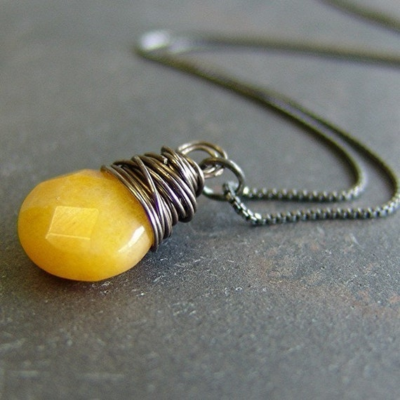 Handmade Bright Yellow Chalcedony necklace - Marigold