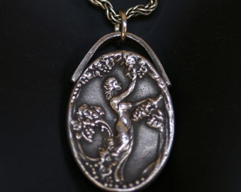 Cameo Necklace or Pendant in Silver - Lady in the Vines with Bail  - Made to order