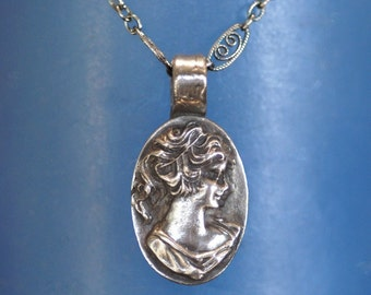 Cameo Necklace or Pendant - Silver - Grecian Lady  - Made to Order