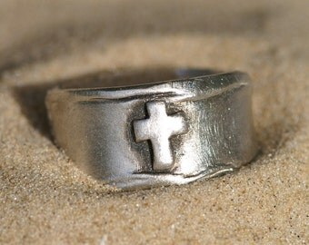 Cross Ring in Silver - Sizes 9 through 10 1/2  -  Made to Order