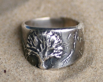 Ring - Tree of Life in Silver  - Sizes 5 through 8 1/2 - Made to Order