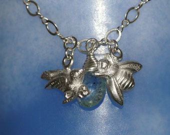 Moss Aquamarine Necklace - The Birds and the Bees  - Made to Order