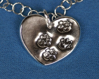 Heart Necklace or Pendant - Paws on My Silver Heart  - Made to Order