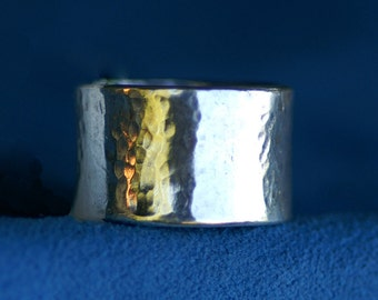 Ring Silver Hammered -  Sizes 9 to 10 1/2  - Made to Order