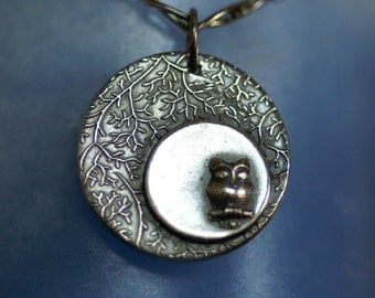Owl in a Silver Moon Pendant (no chain) - Made to Order