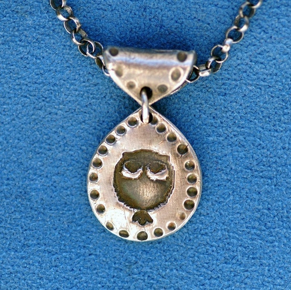 Owl Pendant in Silver -  Teardrop - No Chain - Made to Order