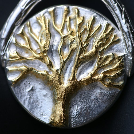 Tree of Life Silver Necklace with Gold -  Made to Order