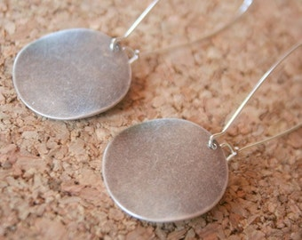 Silver Earrings- Large Antiqued Coin