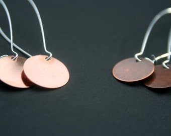 Copper & Silver Earrings- Small Circle