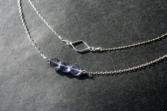 Tiny open diamond sterling silver necklace