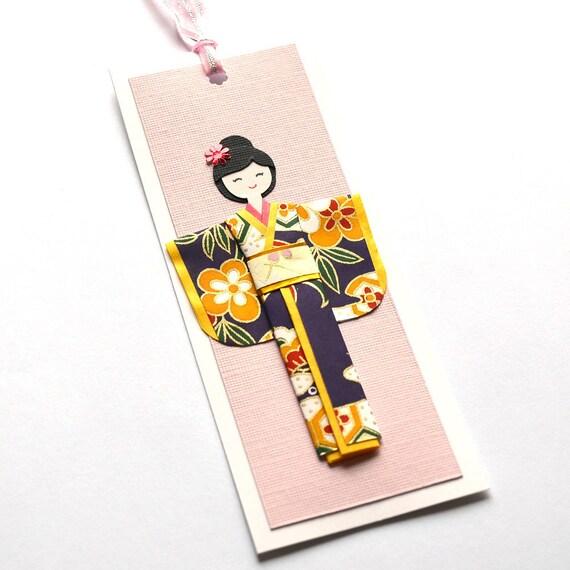 Handmade origami kimono doll bookmark (B448)