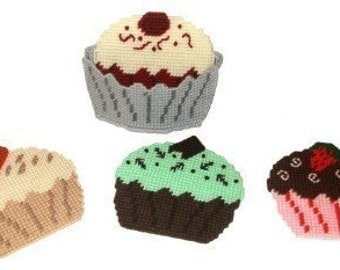 Gourmet Cupcakes Coaster Set Plastic Canvas PDF PATTERN ONLY  **Not Finished Product**
