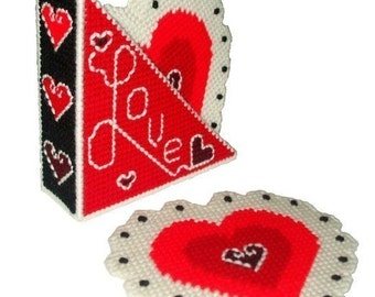 Heart Doilies Coaster Set Plastic Canvas PDF PATTERN ONLY  **Not Finished Product**