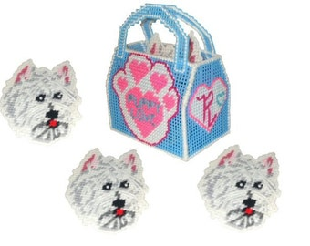 "Westie ""Puppy Love"" Coaster Set Plastic Canvas PDF PATTERN ONLY  **Not Finished Product**"