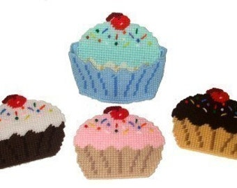 Party Cupcakes Coaster Set Plastic Canvas PDF PATTERN ONLY  **Not Finished Product**