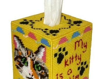Calico Cat Tissue Box Cover Plastic Canvas PDF PATTERN ONLY  **Not Finished Product**