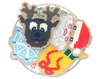 Cookies For Santa Coaster Set Plastic Canvas PDF PATTERN ONLY  **Not Finished Product**