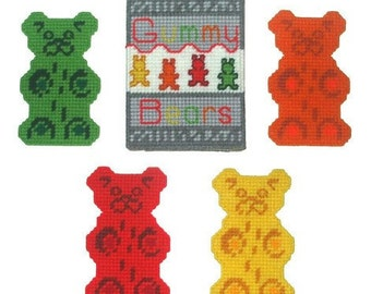 Gummy Bear Coaster Set Plastic Canvas PDF PATTERN ONLY  **Not Finished Product**