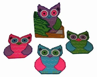 Fun & Funky Owls Coaster Set Plastic Canvas PDF PATTERN ONLY  **Not Finished Product**