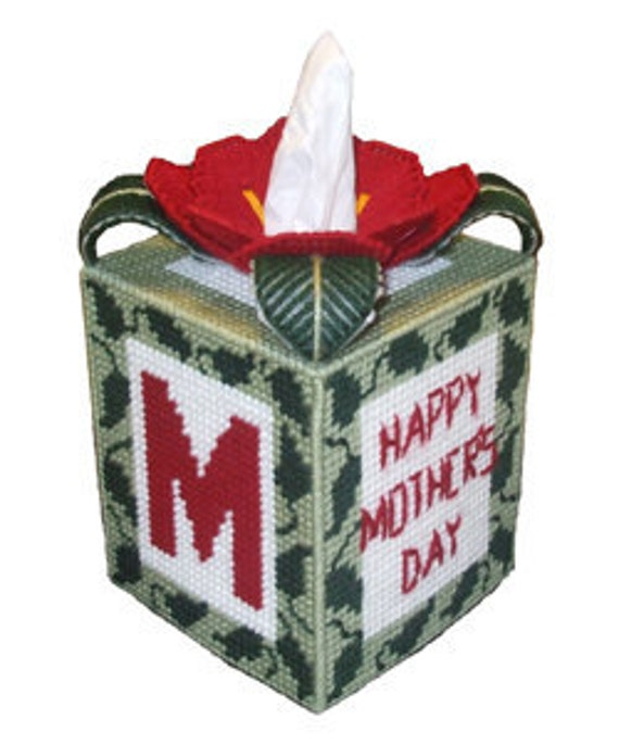 MOM Tissue Box Cover Plastic Canvas PDF Pattern ONLY  **Not Finished Product**