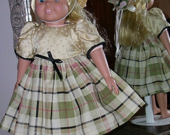 18 inch American Girl type HANDMADE BY ME plaid dress and matching hat