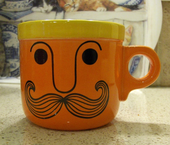 Vintage Moustache Cup Coffee Mug Orange and Yellow Mug with Moustache Protection