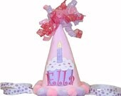 PERSONALIZE ME ---Applique Personalized Pink Cupcake Birthday Party Hat ---ELLA STYLE