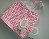 Black Friday Reduced 5.00 Hand Knit 18 Inch Doll Sundress with Matching Mary Jane Slippers