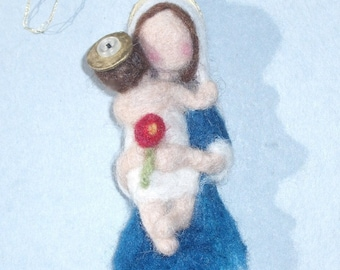 Needle Felted Ornament, Mother and Child