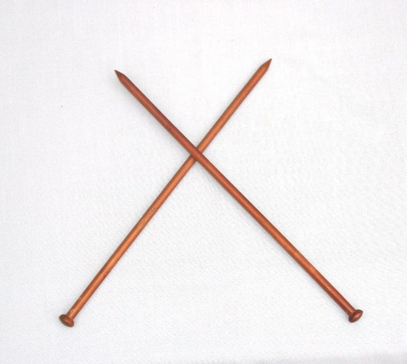 2 Antique Wooden Knitting Needles / Treenware